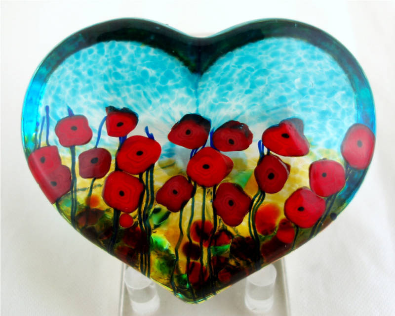 California Poppy Heart Paperweight