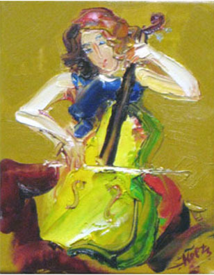 Woman Playing the Cello by Koets