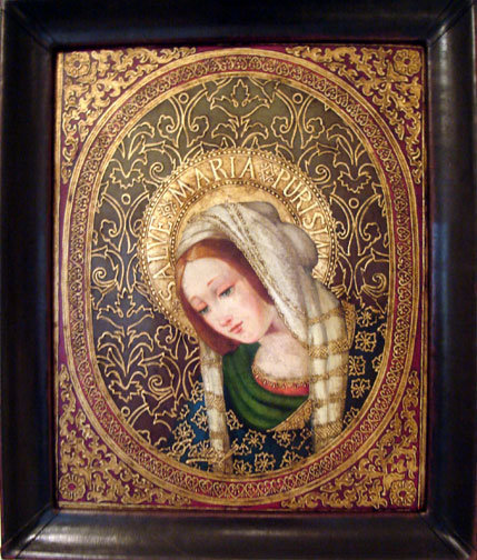 Virgin Mary Original Oil Painting - Virgen Unica by Mendoza