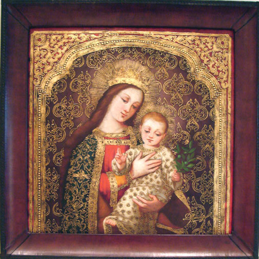 Virgin Mary Original Oil Painting - Madona de Villarica by Mendoza