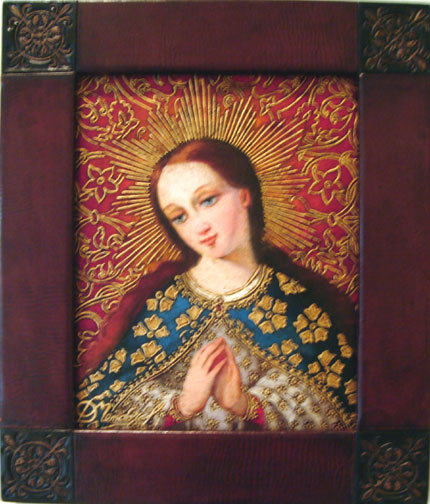 Virgin Mary Original Oil Painting - Virgen del Huerto by Mendoza