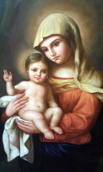 Virgin Mary Original Oil Painting - Virgin & Child