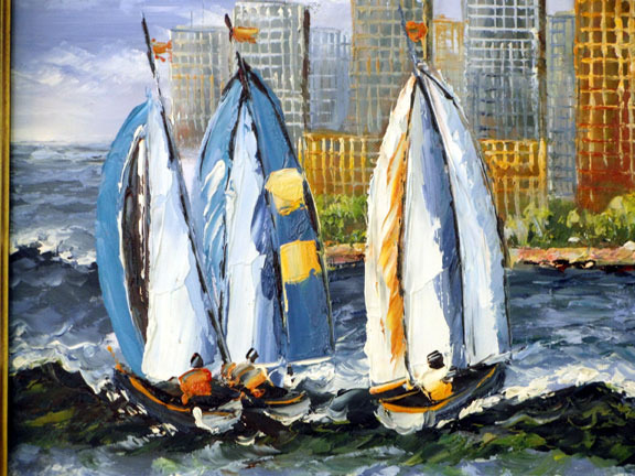 City Skyline with Sailboats by Jeffrey