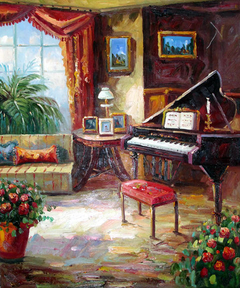 Piano by the Window - Original Oil Painting