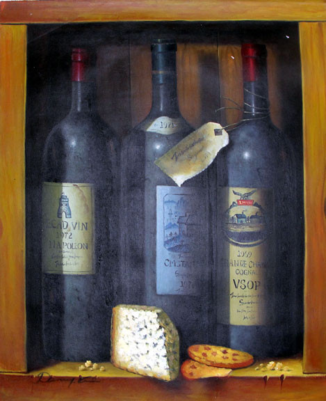 Wine, Cognac & Cheese Still Life by Danny Kim - Original Oil Painting