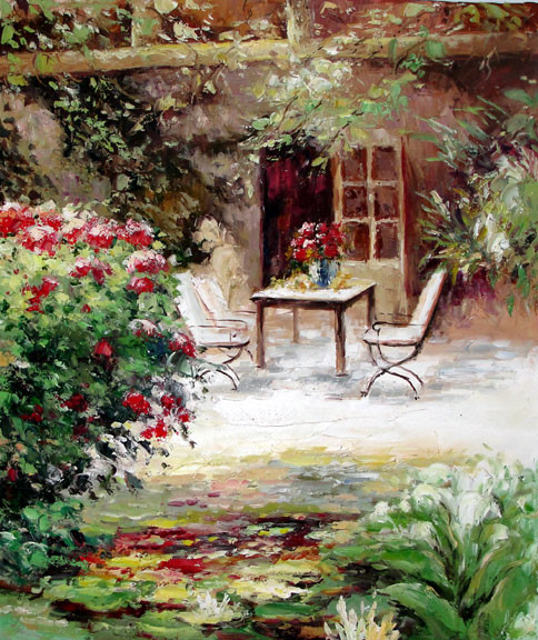 Table on the Terrace - Original Oil Painting