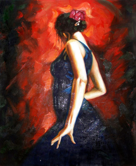 "Spanish Flamenco Dancer - Original Oil Painting 20"" x 24"""