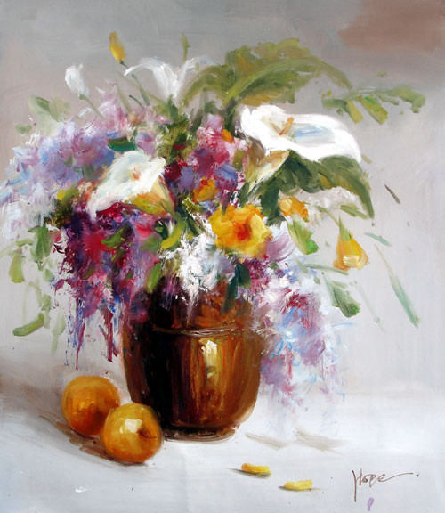 "Floral Still Life by Hope - Original Oil Painting 20"" x 24"""
