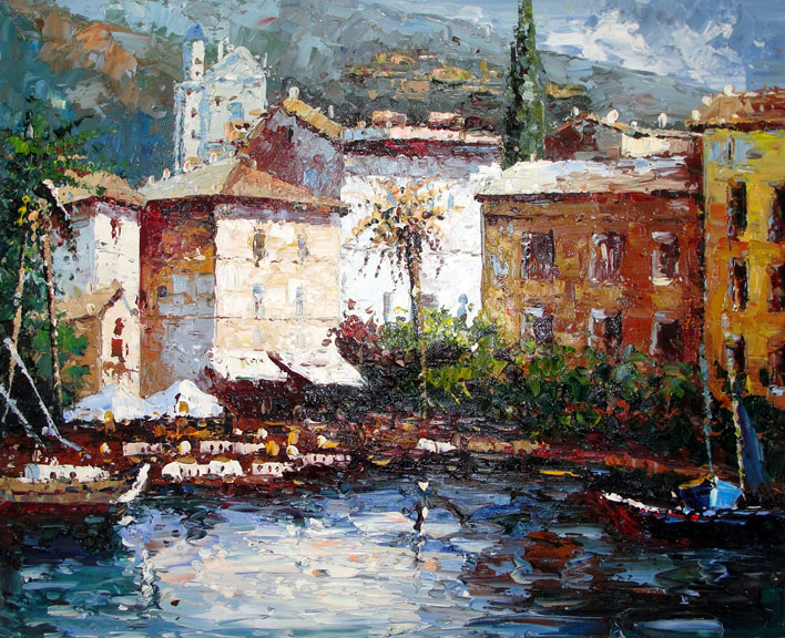Village on the Sea 3 by Antonio - Original Oil Painting