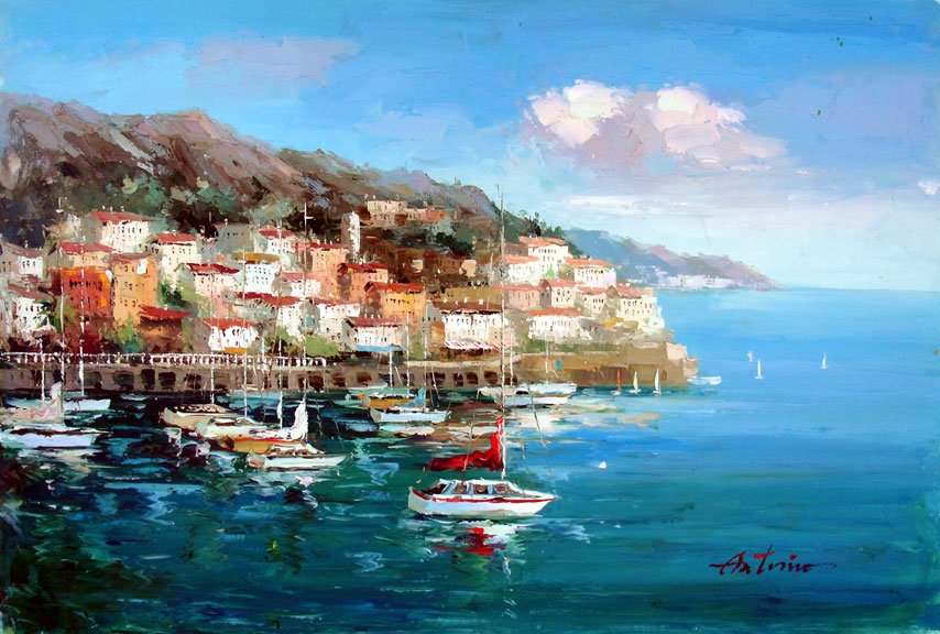 Greek Village by the Sea 2 by Antonio - Original Oil Painting