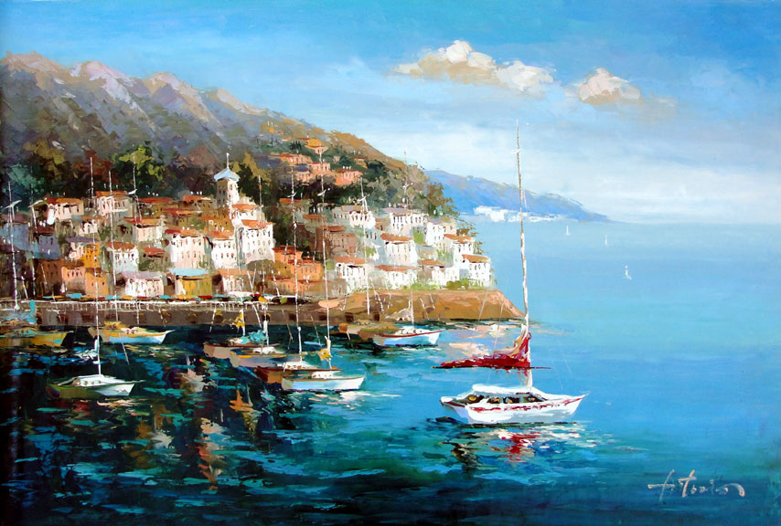 Greek Village by the Sea 3 by Antonio - Original Oil Painting