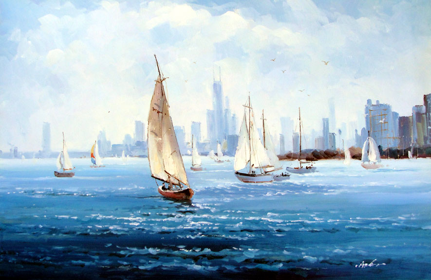 Sailboats in the Harbor by Aghen - Original Oil Painting