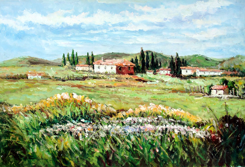 Tuscan Meadow by Brett - Original Oil Painting