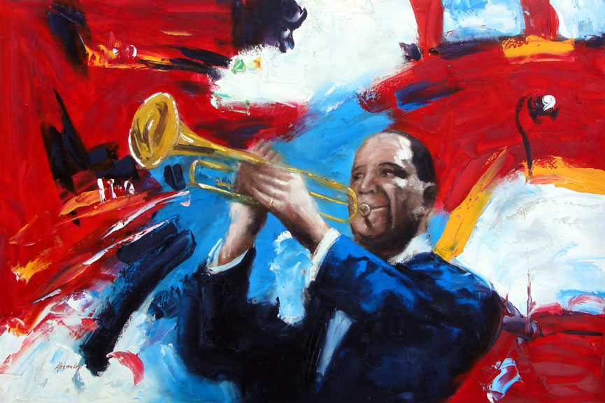 Trumpet Player by Alexander - Original Oil Painting