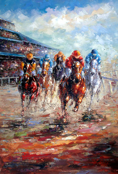 "Horse Races 1 by Rugell - Original Oil Painting 24"" x 36"""""