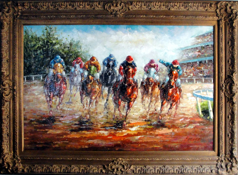 "Horse Races 3 by Rugell - Original Oil Painting 24"" x 36"""""