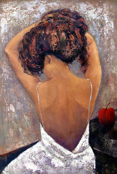 "Lady - Back View - Original Oil Painting 24"" x 36"""""
