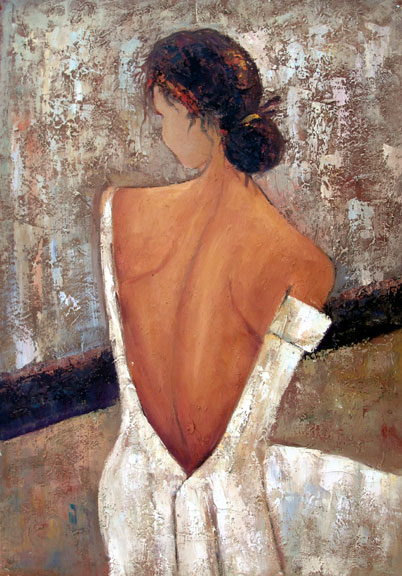 "Seated Lady - Back View - Original Oil Painting 24"" x 36"""""