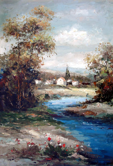 French Village on the River by Wenshi - Original Oil Painting