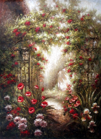 Roses Climbing Over the Arbor - Original Oil Painting