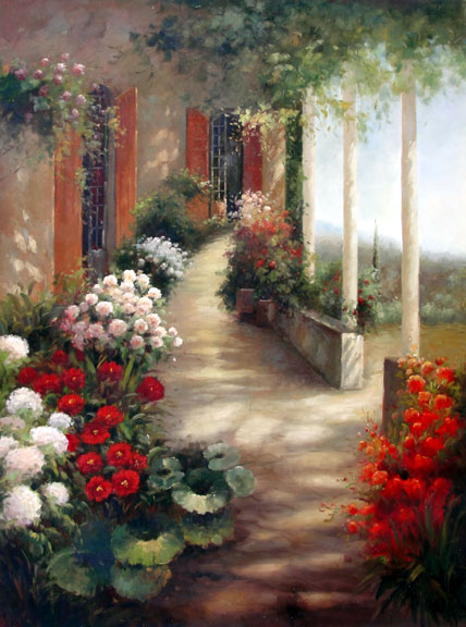 Veranda in Bloom - Original Oil Painting