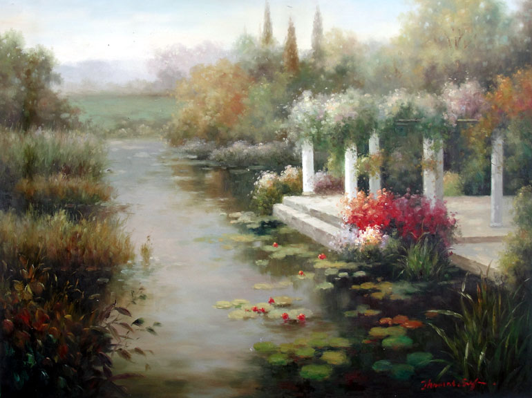 Arbor on the Lily Pond by Thomas Cory - Original Oil Painting