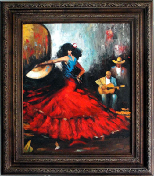 "Spanish Dancer with Fan, 20"" x 24"""