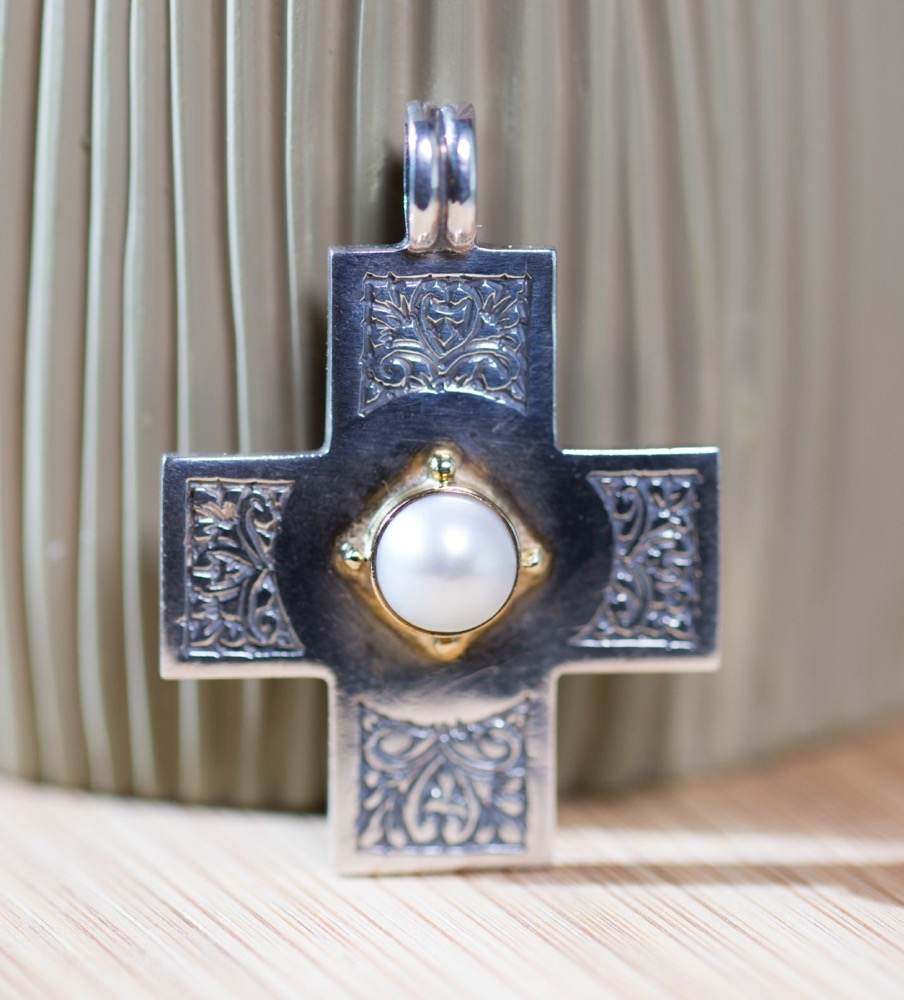 Handmade Pearl Cross by Konstantino