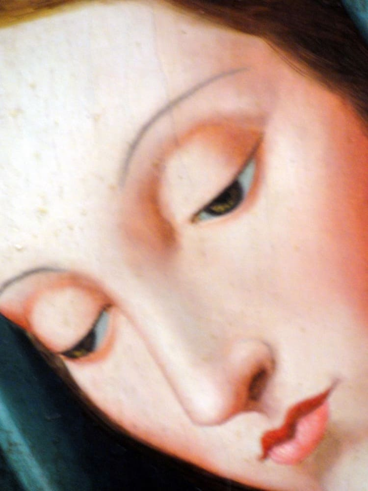 Virgin Mary Original Oil Painting - Virgen Meditando by Julius